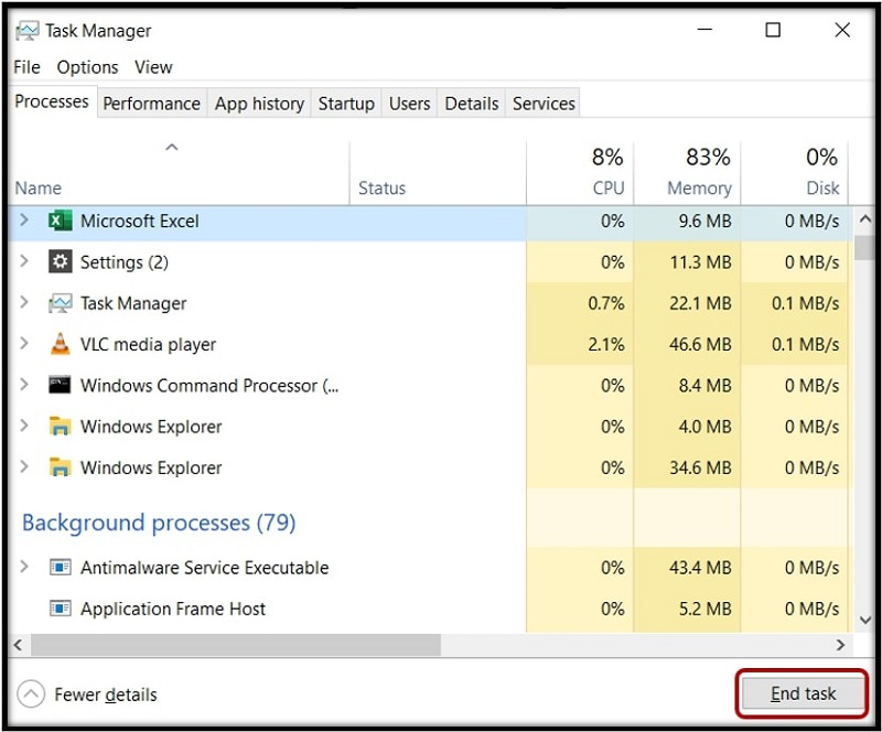 Task Manager End task button to force close the program on Windows 10