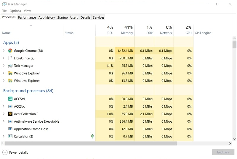 The Task Manager window on Windows 10