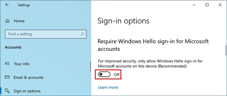Turn off Windows hello sign-in for Microsoft accounts
