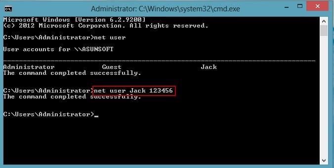 type the command code to change Windows 8 password