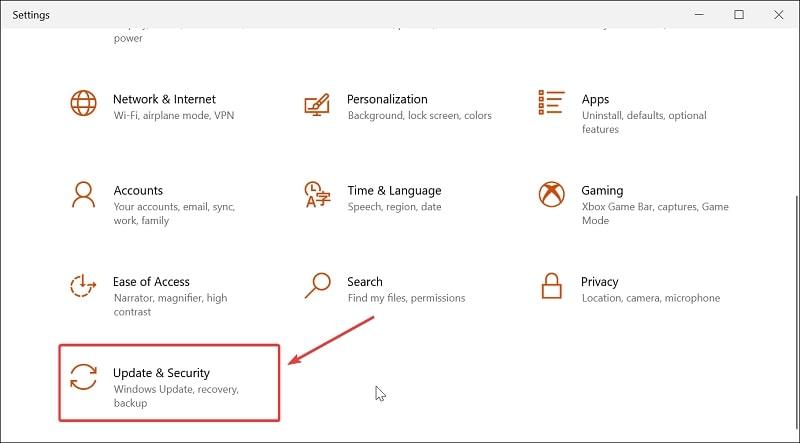 Update & Security option on Windows 10