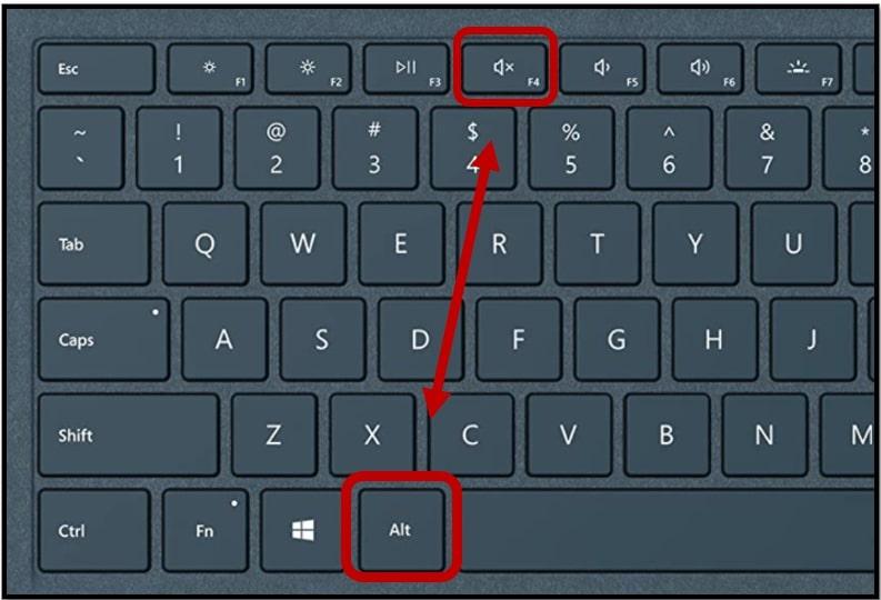 Use alt plus f4 toggles to force close program on Windows 10