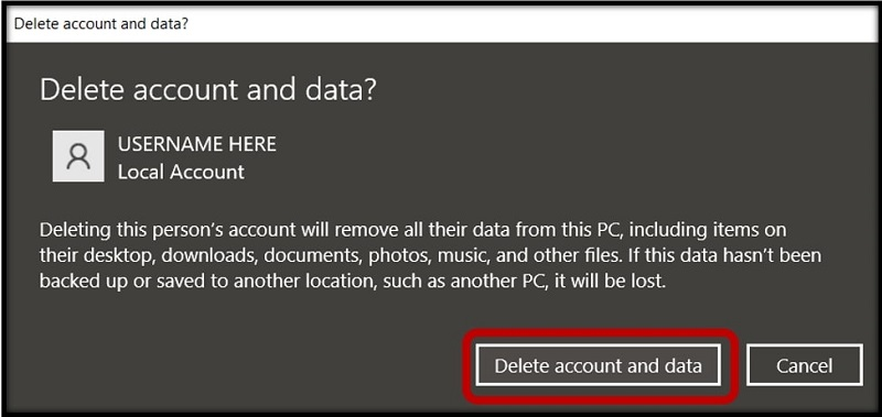 User Account Control pop-up to confirm the deletion of Admin account