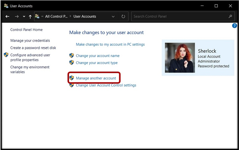 The User Accounts Menu on Windows 10