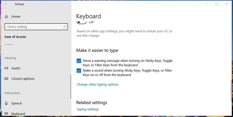 The additional Sticky Keys options in Windows 10 Settings
