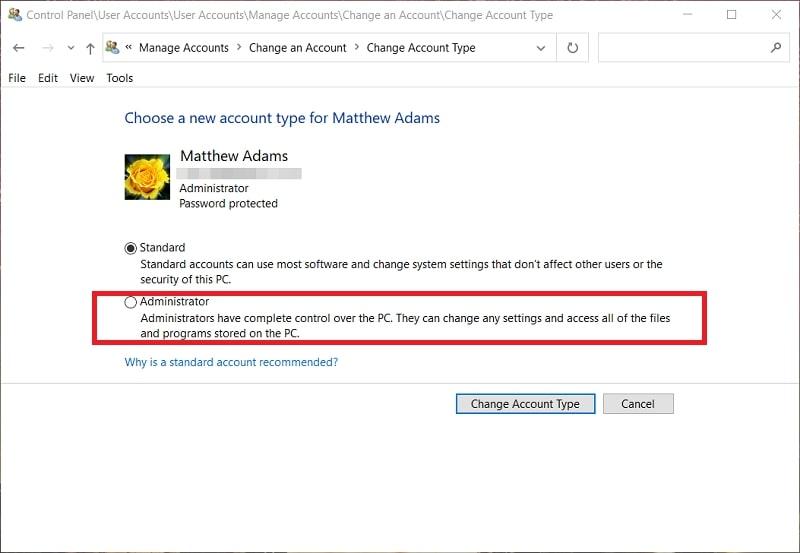 The Administrator account radio button in Windows 10