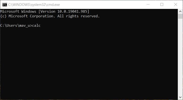 The calc command to open Calculator in Windows 10