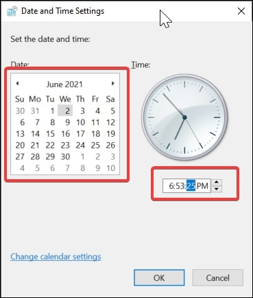 Data and Time Settings in Windows 10