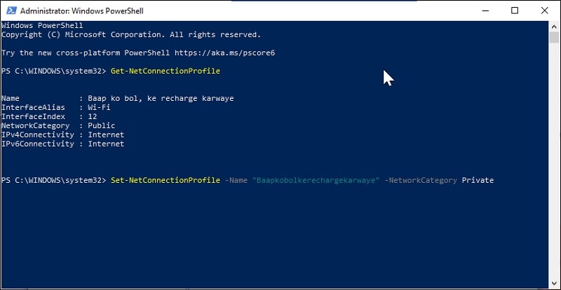 Change Network from Public to Private in Windows 10 via Command Prompt or PowerShell