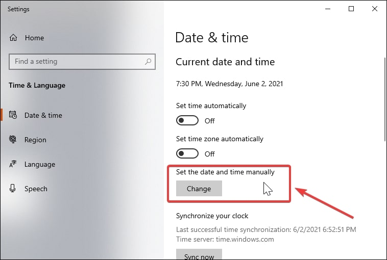 Set the date and time manually in Windows 10