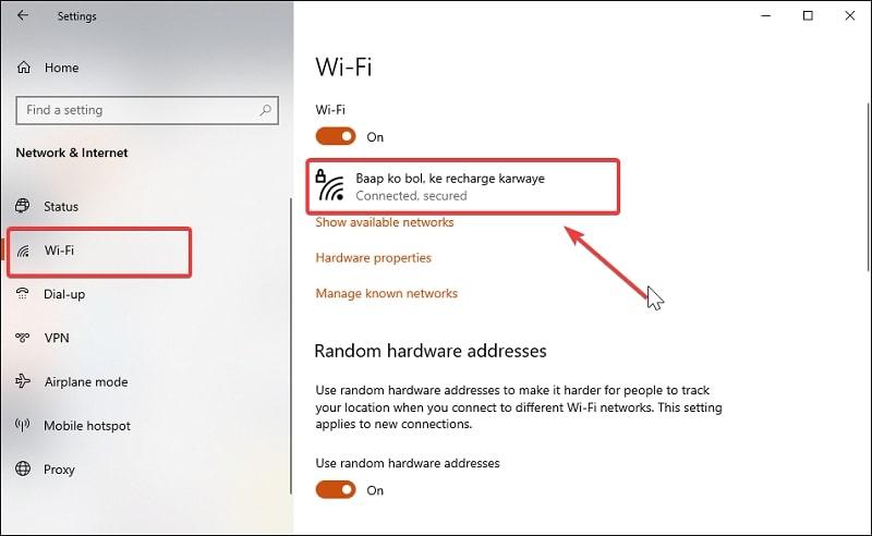 Wi-Fi tab in Network & Internet settings Windows 10