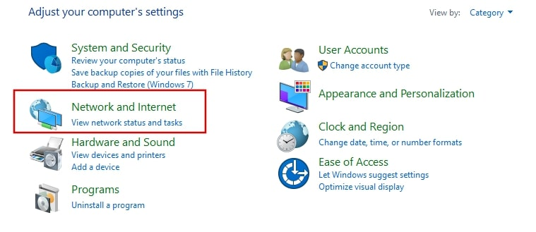 Network and Internet from control panel Windows 10