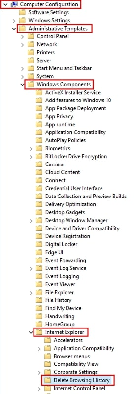 Delete browsing history from Local Group Policy Editor Windows 10