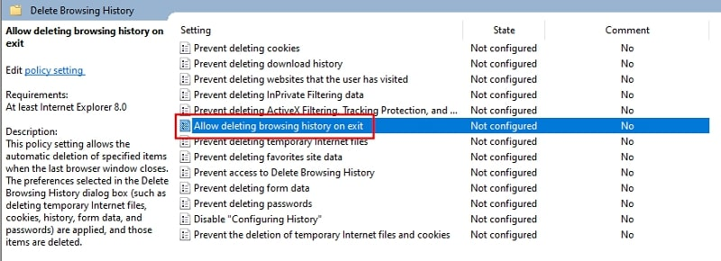 Allow deleting browser history on exit from Local Group Policy Editor Windows 10