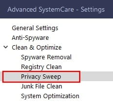Privacy sweep in IOBit Advanced SystemCare