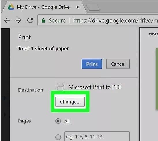 click on print for PDF file on Google Chrome