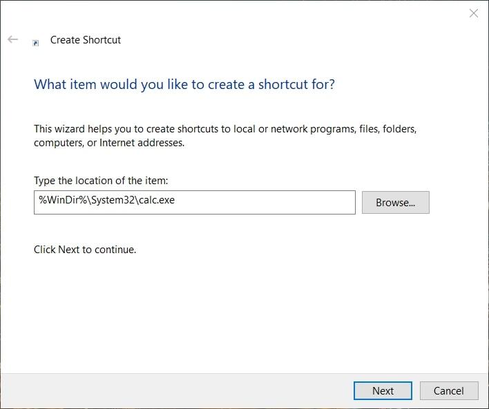 Create a Desktop Shortcut for Calculator in Windows 10