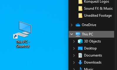 Create a shortcut for this pc in Windows 10