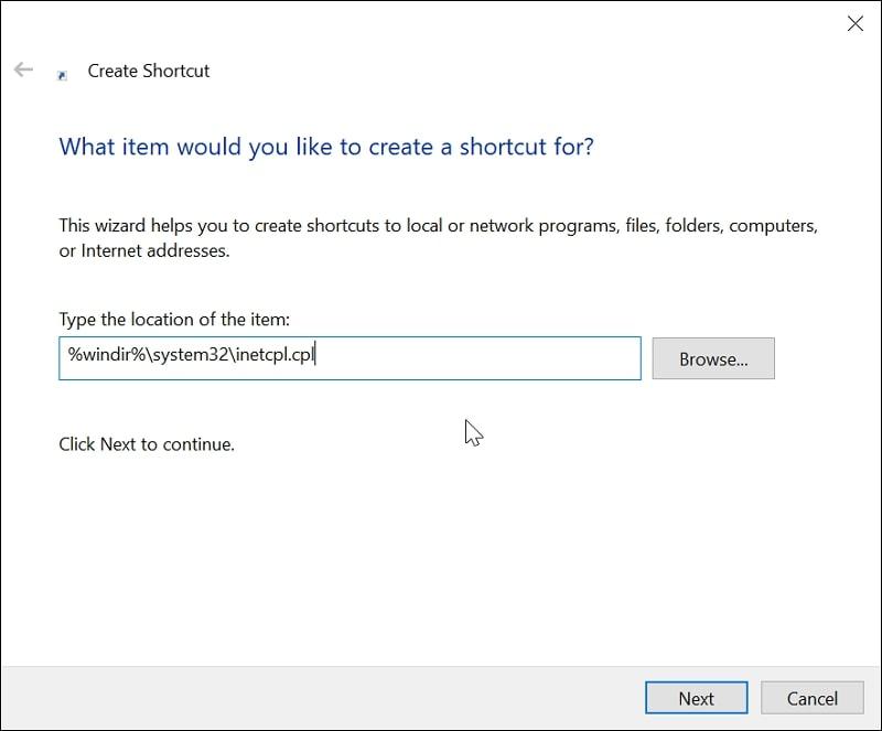 Create A Internet Options Shortcut in Windows 10