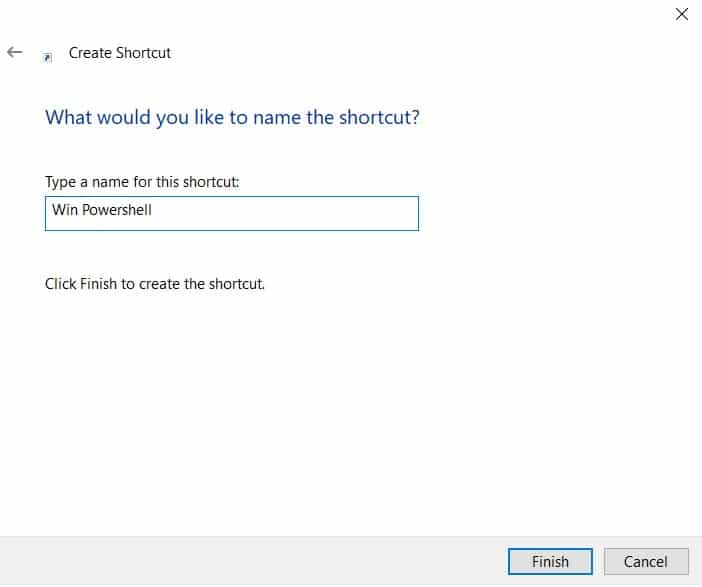 Create Shortcut for PowerShell in Windows 10