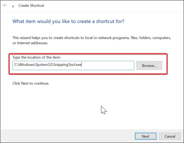 Create a desktop shortcut for Snipping tool in Windows 10