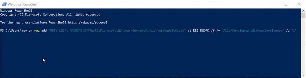 The enable Developer Mode PowerShell command in Windows 10