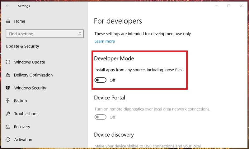 For Developer option in Windows 10 settings