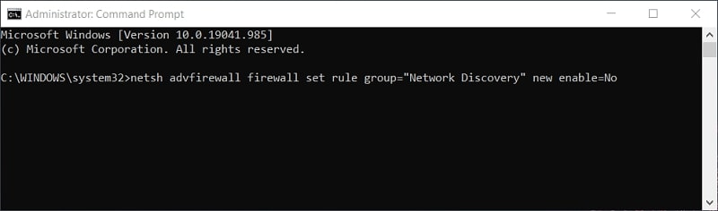 disable Network Discovery Command Prompt command in Windows 10
