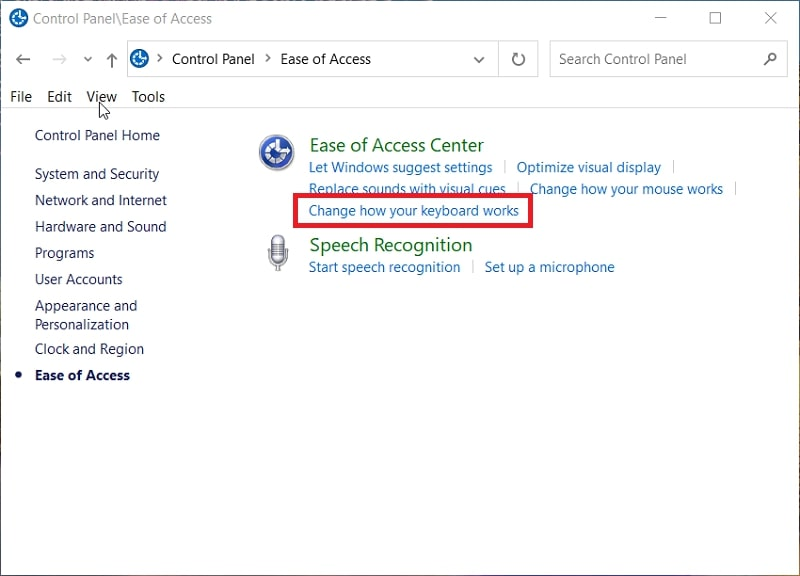 The Ease of Access category in Windows 10 control panel
