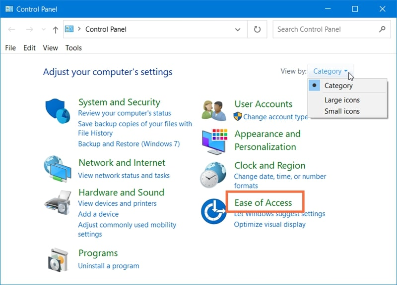 Ease of Access in Control Panel Windows 10