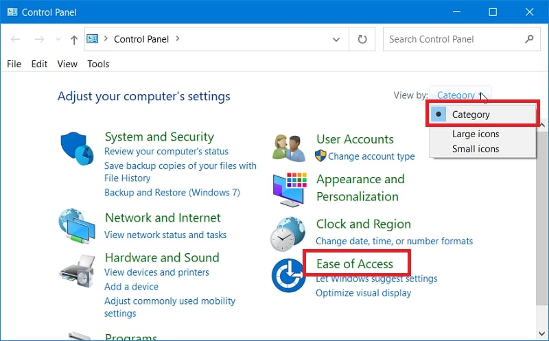 The Ease of Access in control panel Windows 10