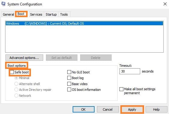 disable safe boot in Windows 7
