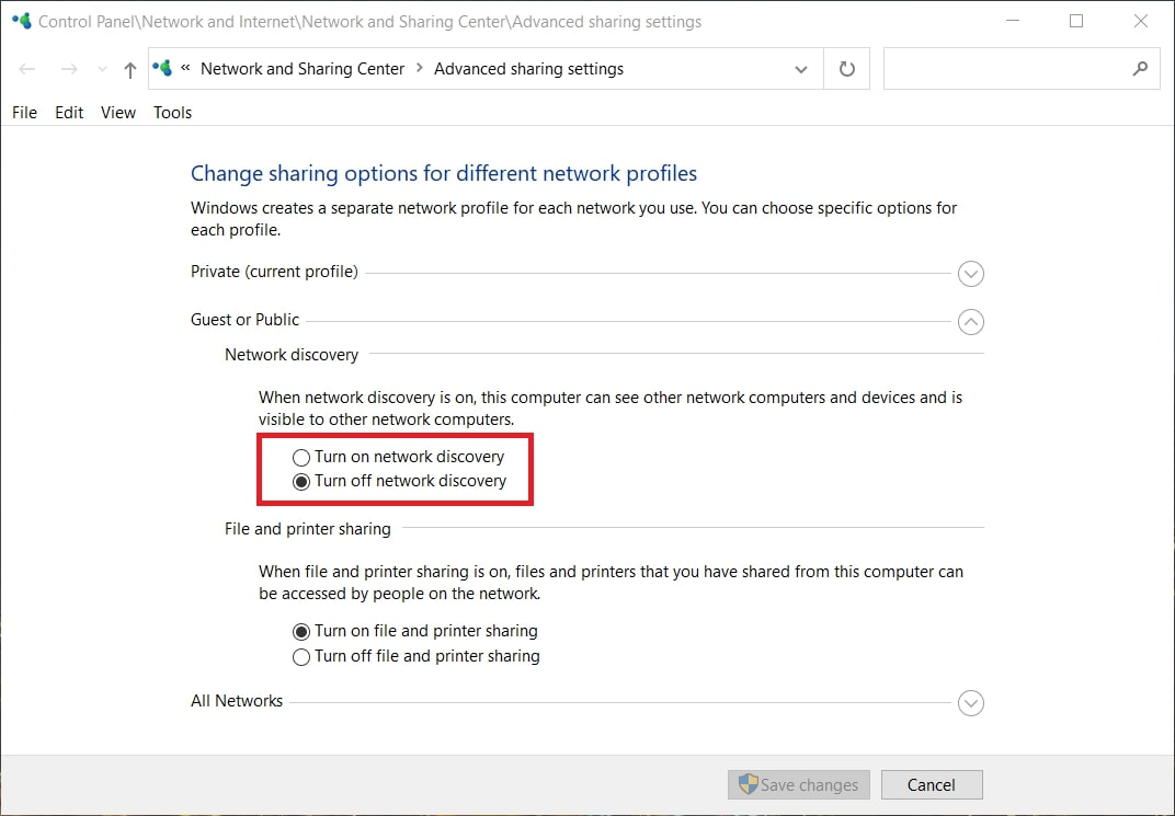 The guest or public Network Discovery options in Windows 10