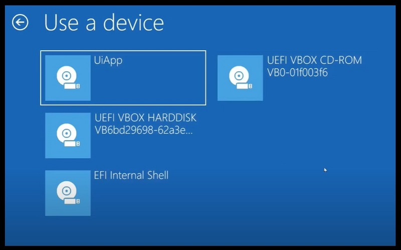 Choose a device within the Advanced startup option on Windows 10