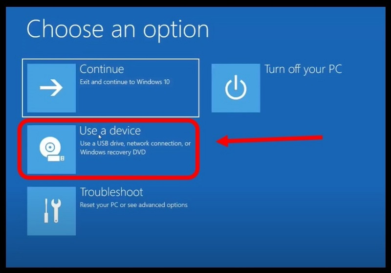 Use a device option to change the boot order from within Windows 10