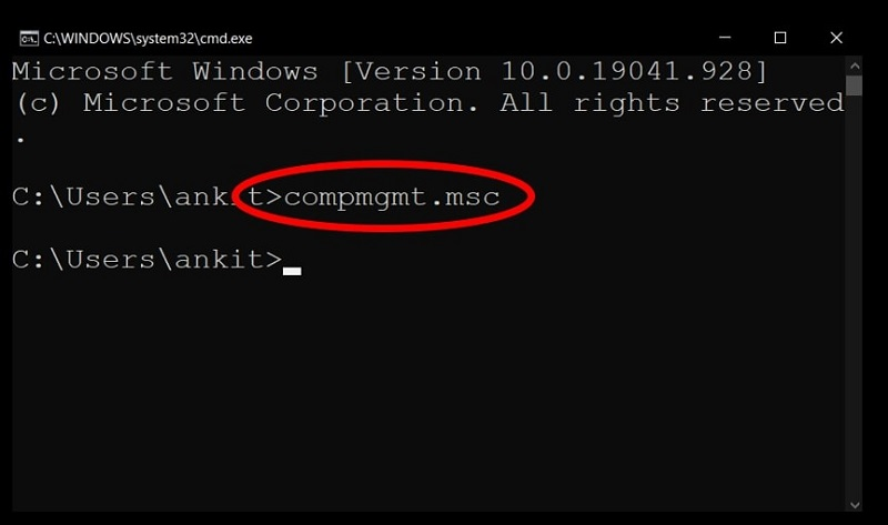 Open Computer Management in Windows 10 using Command Prompt