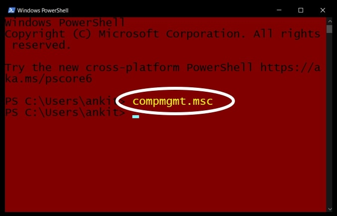 Open Computer Management in Windows 10 using PowerShell