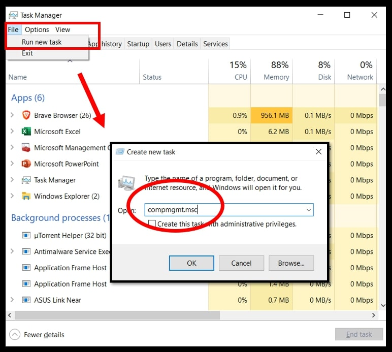 Open Computer Management in Windows 10 using the Task Manager