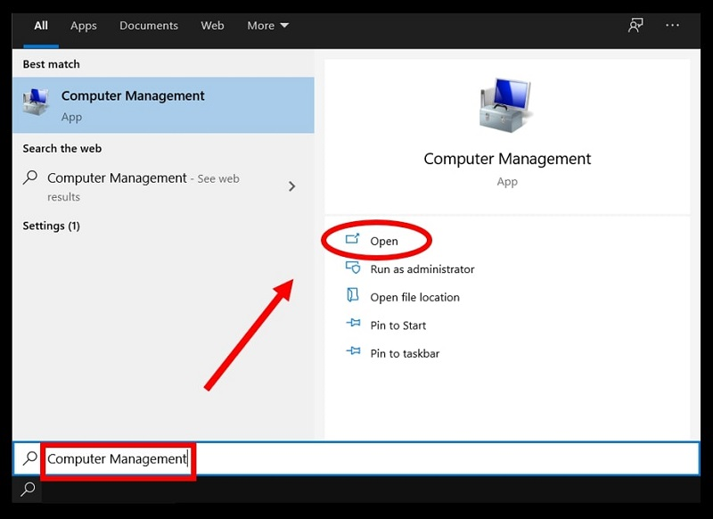Open Computer Management in Windows 10 by Searching