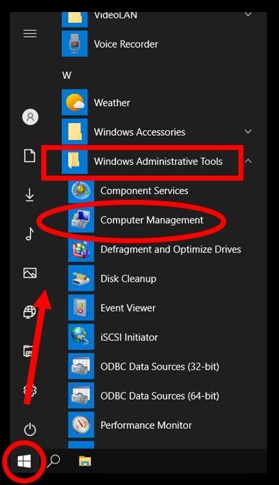 Open Computer Management in Windows 10 using the Start Menu