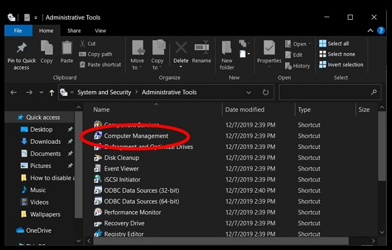 Open Computer Management in Windows 10 using the Control Panel