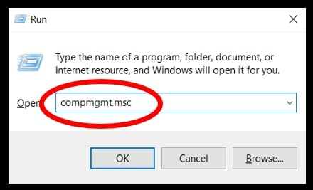 Open Computer Management in Windows 10 using the Run Window