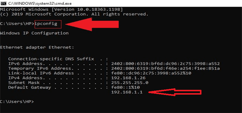 The ipconfig command in Windows 10