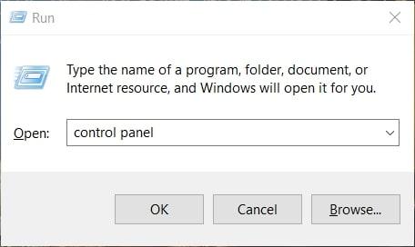 Launch Control Panel in The Run accessory Windows 10