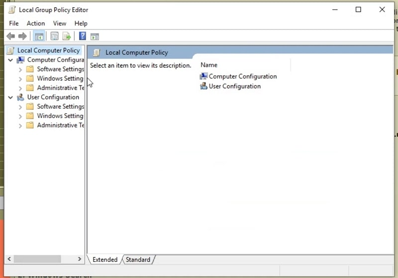 The Local Group Policy Editor window in Windows 10
