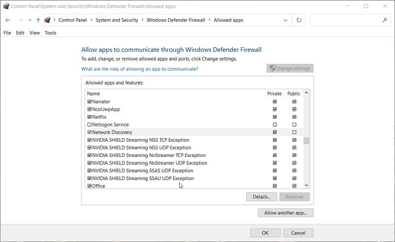 The allowed app firewall settings in Windows 10