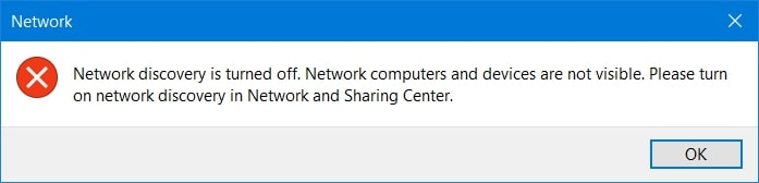 The Network discovery is turned off window in Windows 10