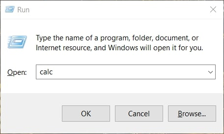 Open Calculator in Windows 10 via the Run Command Box