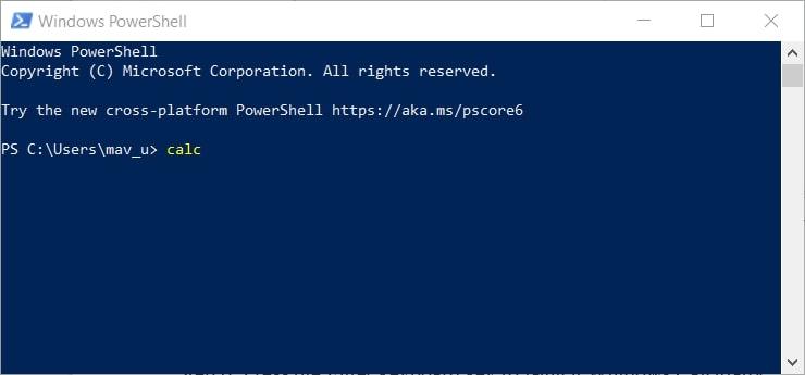 Open Calculator in Windows 10 via Windows PowerShell