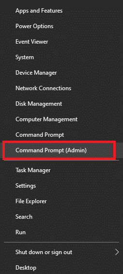 Open Command Prompt (Admin) in Windows 10